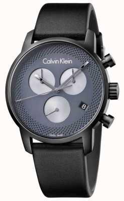 Calvin Klein Cronógrafo cinza de couro preto para homem K2G177C3