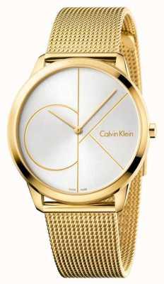 Calvin Klein Relógio minimalista para homem | pulseira de aço inoxidável em malha de ouro | K3M21526