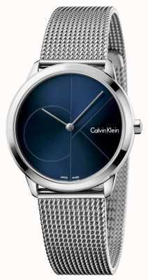 Calvin Klein Dial de malha azul de aço inoxidável da mulher mínima K3M2212N