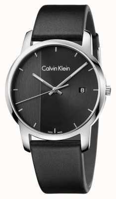 Calvin Klein Discagem preta de couro preto mens cidade K2G2G1C1