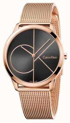 Calvin Klein Dial de malha preta de ouro rosa Mens mínimo K3M21621