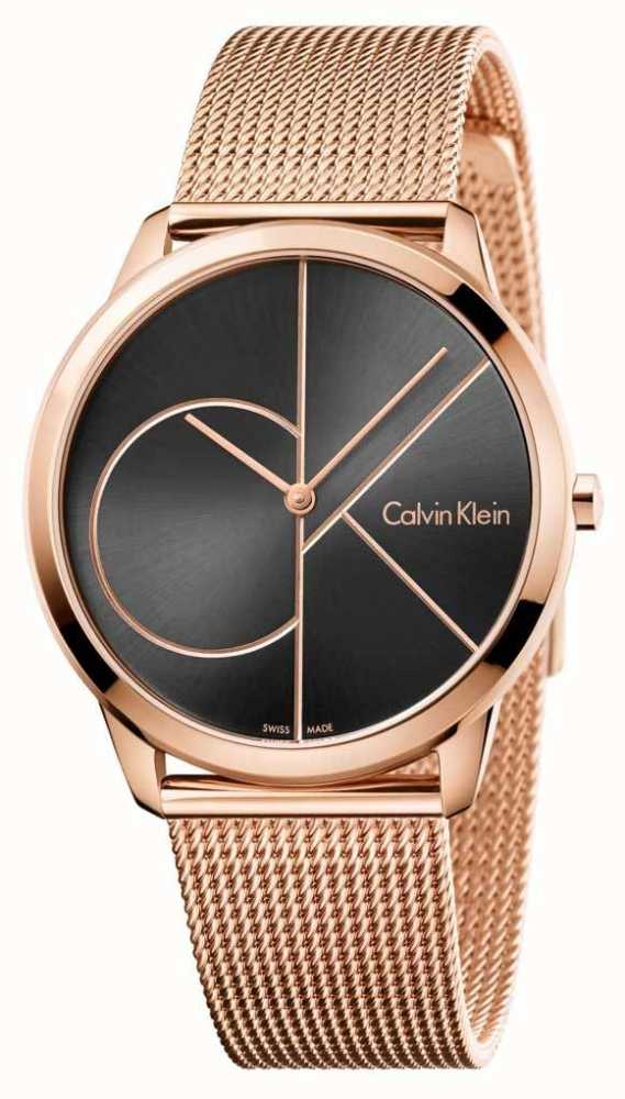 cfa7f6b61d5 Calvin Klein Dial De Malha Preta De Ouro Rosa Mens Mínimo K3M21621 ...
