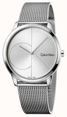 Calvin Klein Mens cinta de malha de aço prata mínima K3M2112Z
