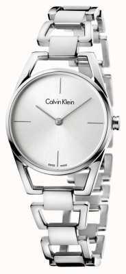 Calvin Klein Mostrador prateado delicado de aço inoxidável da mulher K7L23146