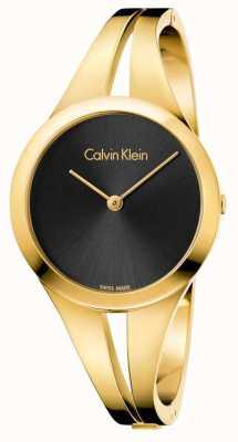 Calvin Klein Womans viciado em tons de ouro pulseira de discagem preta K7W2S511