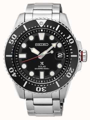 Seiko | prospex | solar | de mergulhador | pulseira de metal | mostrador preto | SNE437P1