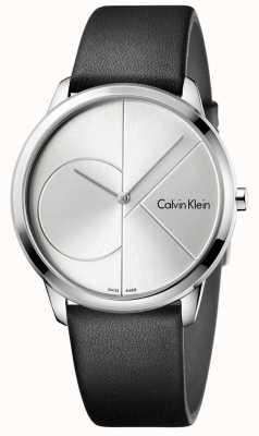Calvin Klein Mens relógio de prata de couro preto mínimo K3M211CY