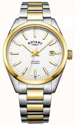 Rotary Mens havana automatic | pulseira de aço inoxidável bicolor | GB05078/02