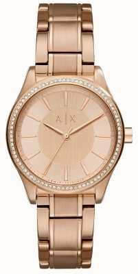 Armani Exchange Womans aço subiu relógio vestido de ouro AX5442
