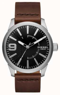 Diesel Mens grosa preto e aço inoxidável DZ1802