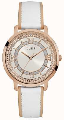Guess Mulheres montauk pulseira de couro branco mostrador prateado W0934L1