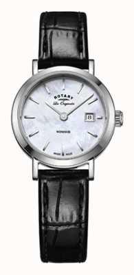 Rotary Womens windsor pulseira de couro preto mãe de discagem pérola LS90153/41