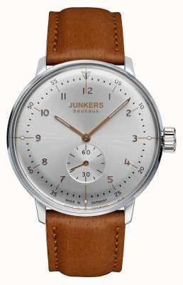 Junkers Mens bauhaus handwound pulseira de couro marrom mostrador prateado 6030-5