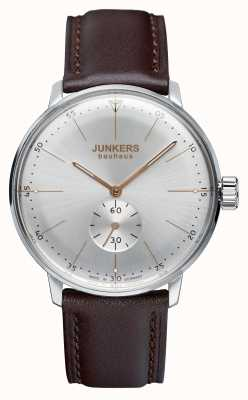Junkers Mens bauhaus handwound pulseira de couro mostrador prateado 6032-5
