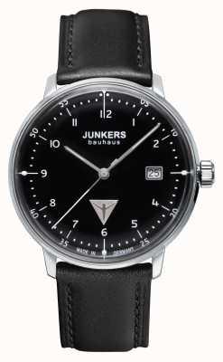 Junkers Mens bauhaus pulseira de couro preto mostrador preto 6046-2