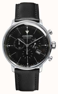 Junkers Mens bauhaus cronógrafo pulseira de couro preto mostrador preto 6088-2