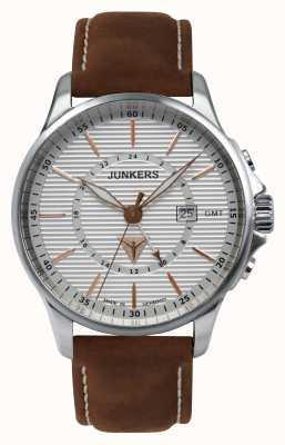 Junkers Mens tante ju pulseira de couro marrom mostrador prateado 6842-4