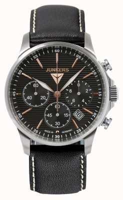 Junkers Mens tante ju cronógrafo pulseira de couro preto mostrador preto 6878-5