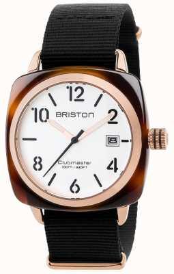 Briston Mens clubmaster clássico preto pulseira de tecido branco 17240.PRA.T.2.NB