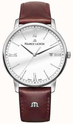 Maurice Lacroix Eliros mens pulseira de couro marrom EL1118-SS001-113-1