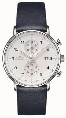 Junghans Forma c pulseira azul de vitelo cronoscope com números 041/4775.00