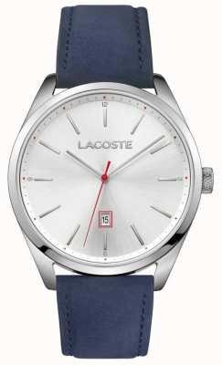 Lacoste Mens san diego pulseira de couro azul mostrador prateado 2010909