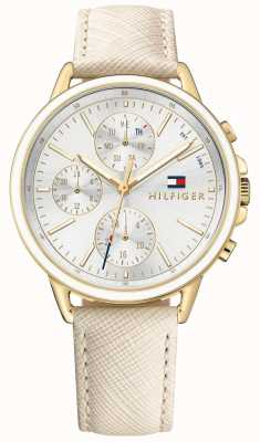 Tommy Hilfiger Carly branco pulseira de couro branco mostrador das mulheres 1781790