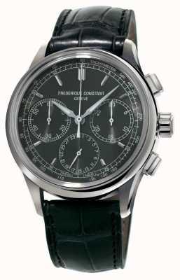 Frederique Constant Cronógrafo Flyback fabricar pulseira de jacaré preta FC-760DG4H6
