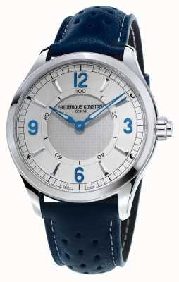 Frederique Constant Mens relogio smartwatch bluetooth pulseira de couro azul FC-282AS5B6