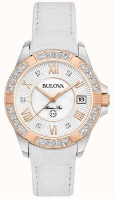 Bulova Womans marinho estrela diamante branco 98R233
