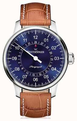 MeisterSinger Mens classic plus perigraph pulseira de couro marrom azul AM1008