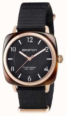 Briston Unisex clubmaster chique acetato preto pvd ouro rosa 17536.PRA.T.1.NB
