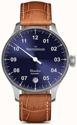 MeisterSinger Mens circularis automático sunburst azul CC908