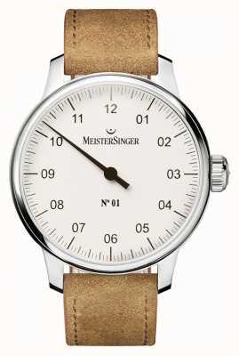 MeisterSinger Mens não. 1 clássico mão ferida sellita branco AM3301