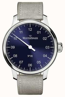 MeisterSinger Mens clássico não. 1 mão ferida sellita sunburst azul AM3308