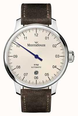 MeisterSinger Mens clássico não. 3 marfim automático de 40mm DM903