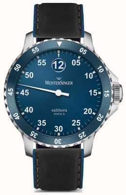 MeisterSinger Mens clássico mais salthora meta x azul automático SAMX908