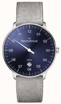 MeisterSinger Mens forma e estilo neo além de sunburst automático azul NE408