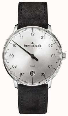 MeisterSinger Mens forma e estilo neo sunburst prata automática NE901N