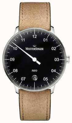 MeisterSinger Mens forma e estilo neo preto automático NE902N