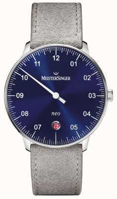 MeisterSinger Mens forma e estilo neo sunburst automático azul NE908N