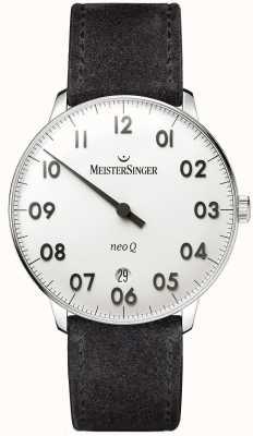 MeisterSinger Mens forma e estilo neo q aço inoxidável e camurça preta NQ901N