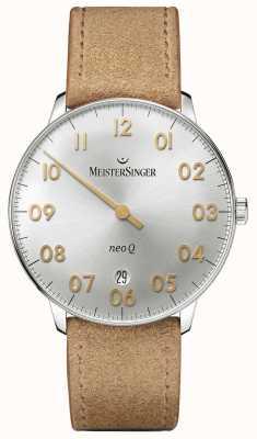 MeisterSinger Mens forma e estilo neo q quarz prata sunburst NQ901GN