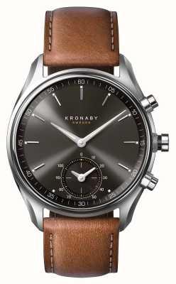 Kronaby 43mm sekel bluetooth marrom couro preto discagem a1000-0719 S0719/1