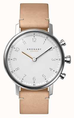 Kronaby Smartwatch de cinta de couro bege nord bluetooth 38mm A1000-0712