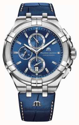 Maurice Lacroix Mens aikon azul cronógrafo pulseira de couro azul AI1018-SS001-430-1