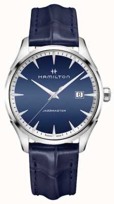 Hamilton Mens jazzmaster quartzo azul couro H32451641