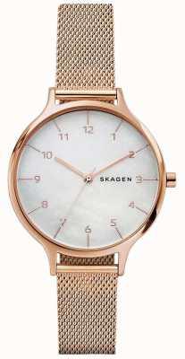Skagen Womans anita subiu pulseira de malha de aço inoxidável de ouro SKW2633