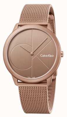 Calvin Klein Mens pulseira de malha de aço inoxidável ouro mínimo marrom K3M11TFK