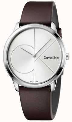 Calvin Klein Mens pulseira de couro marrom mínimo mostrador prateado K3M211G6